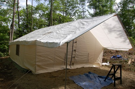 The finished tent, minus the tie downs